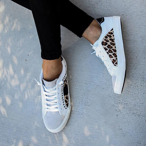 Faddishshoes Studded Leopard Sneakers