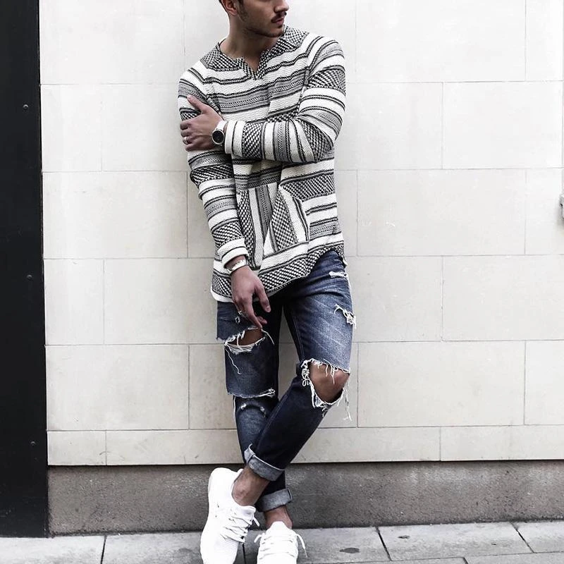 Casual V-neck Long Sleeve Striped T-shirt
