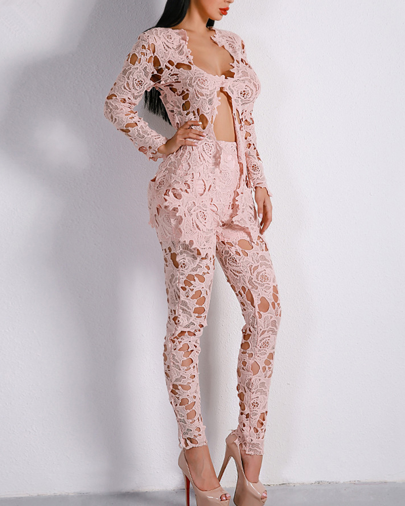 Sexy Lace Stitching Hollow Two-Piece Suit