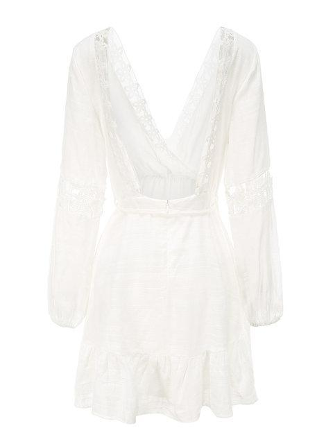 Mokoshoes Ruffled Eyelet Drawstring Holiday Mini Dress