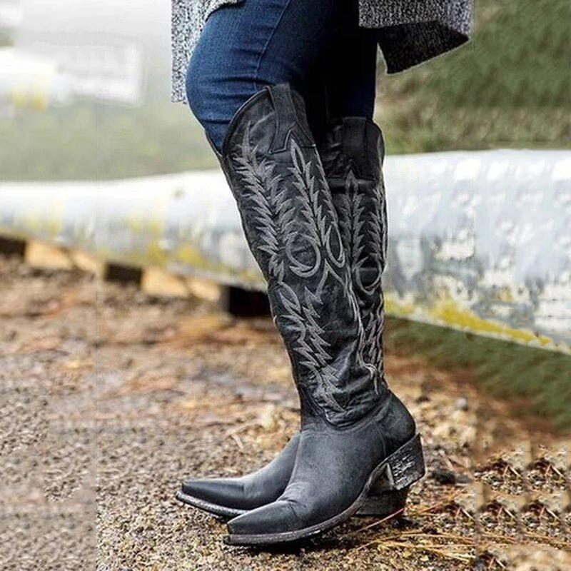 Women'S Embroidered Side Zipper Boots Western Boots