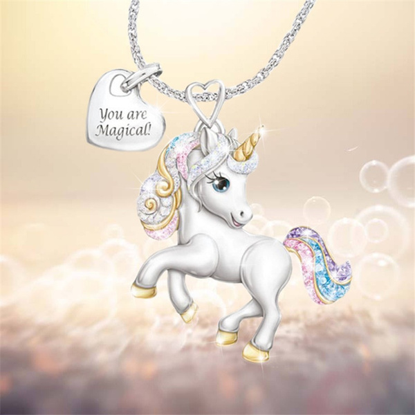 Fashionable Women's Exquisite 925 Sterling Silver 18k Gold Two-tone Natural White Sapphire Diamond Unicorn Necklace Pendant Delicate Engagement Bride Wedding Jewelry Anniversary Gift Creative Jewelry