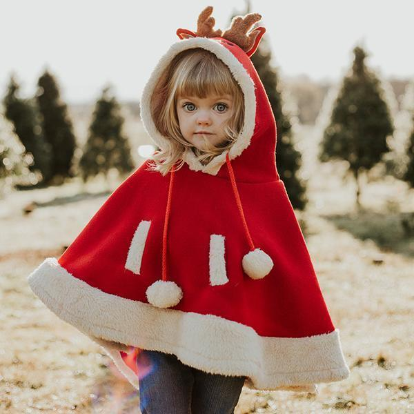 🦌Super Cute Cartoon Reindeer Pompon Embellished Cape🔥