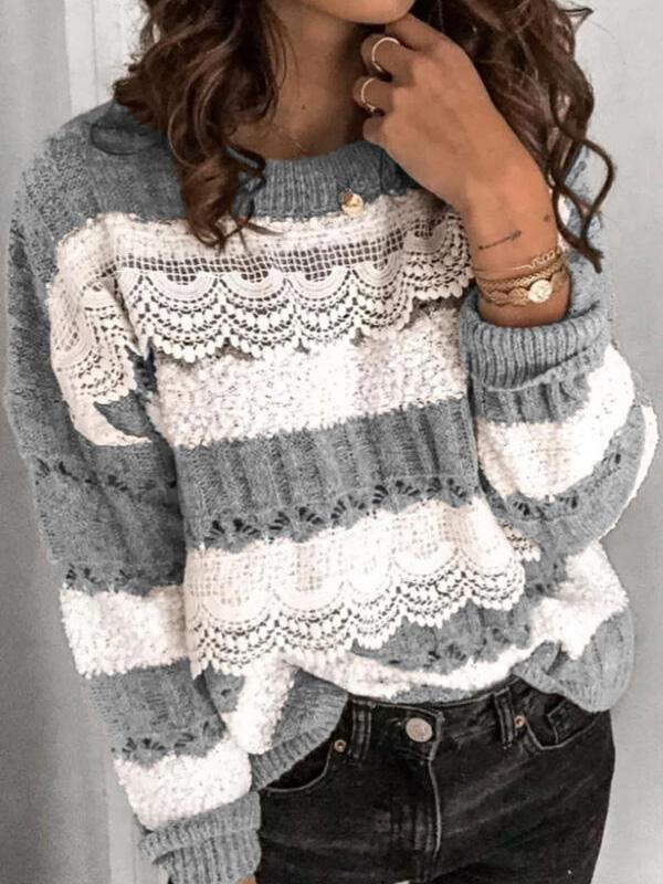 Bonnieshoes Color Block Lace Round Neck Casual Sweaters