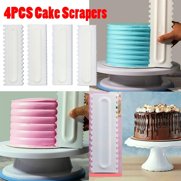 4 PCS Shapes Cake Decorating Comb Icing Smoother Cake Scraper Pastry Baking Tool