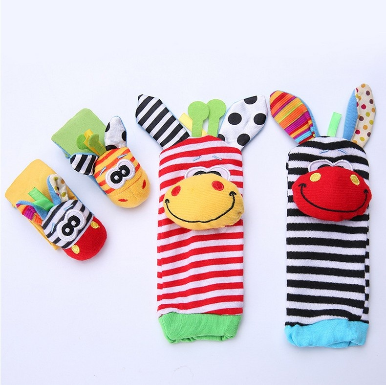 Cute Animal Infant Baby Kids Hand Wrist Bell Foot Sock Rattles  Soft Toy