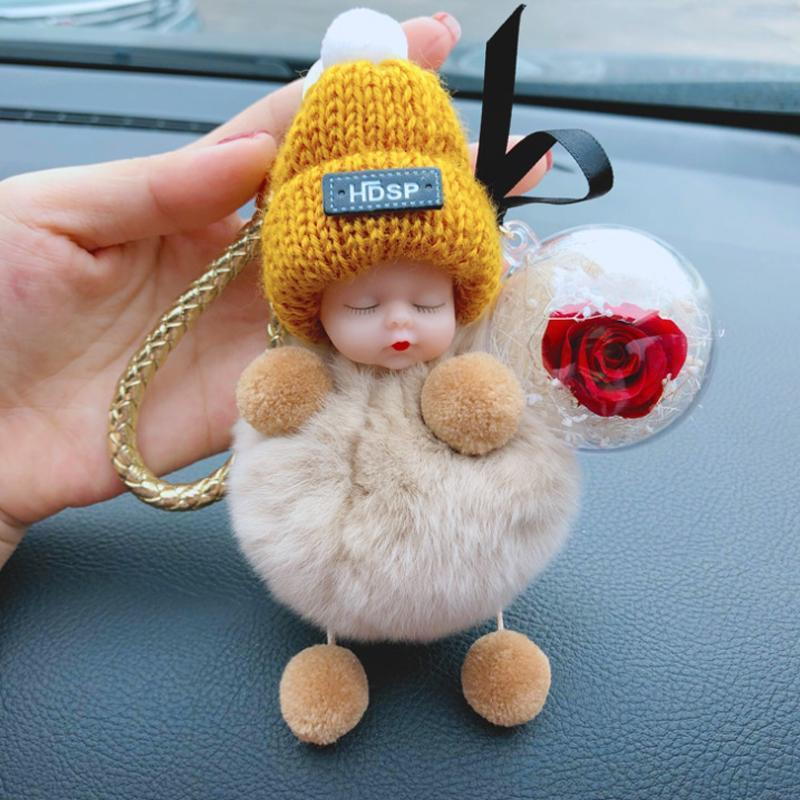 Sleeping Baby Doll Keychain Fur Ball Car Keyring