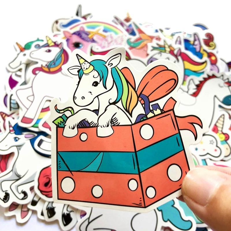 7/50/60 Pcs New Waterproof Cartoon Unicorn Stickers For Laptop Luggage Skateboard Phone Car Styling Home Decor Decals Sticker