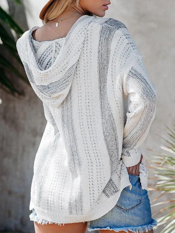 Bonnieshoes Hooded Striped Pocket Sweater