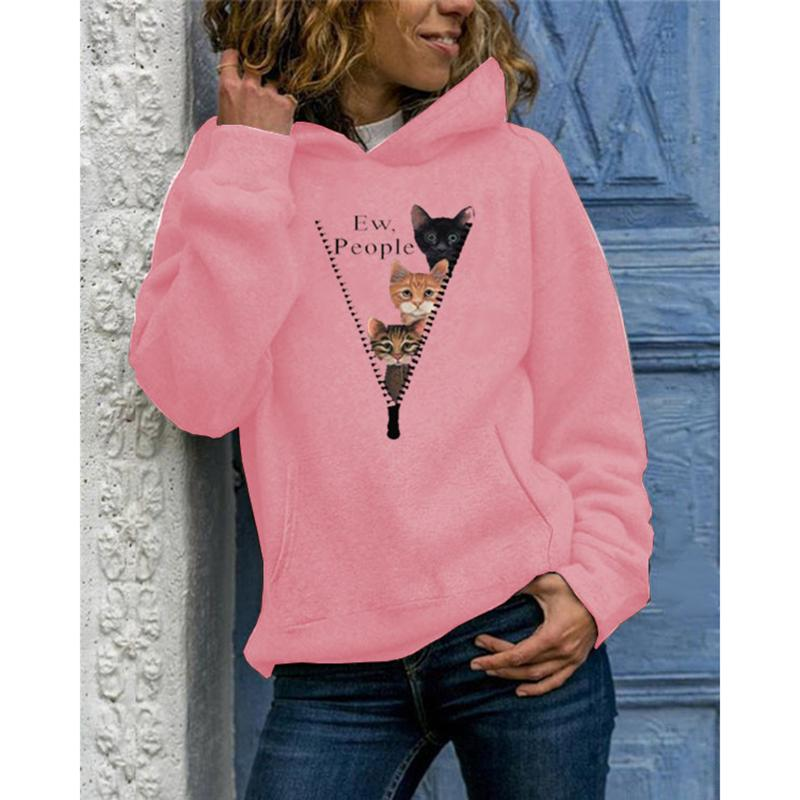 Women Pullover Cat Printed Crewneck Pocket Hoodie Sweatshirt