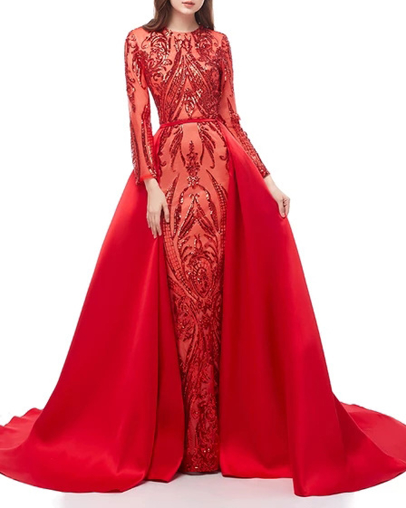 Long-Sleeved Pattern Sequined Party Mopping Evening Dress