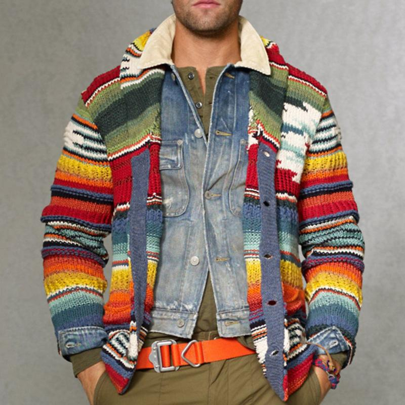 Colorful Knitted Cardigan Sweaters Coat Men Jacket