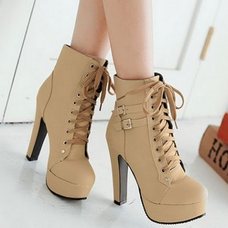 Women Booties Martin Boots Belt Buckle Low Tube Women Boots  Fashion Waterproof Platform High Heels Cross Straps (If Your Feet Are Wider or Fatter, Please Choose The Big One.)