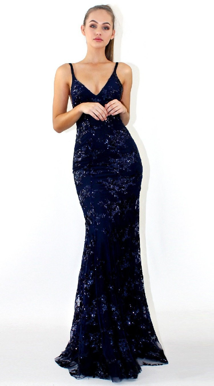 New European and American style V-necktie with hollow back sexy dress evening dress bridesmaid dress