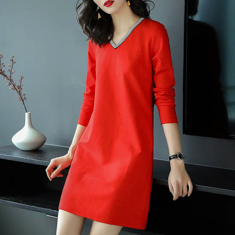 Cotton, Polyester Long Sleeve V Neck Plain With Dresses(Plus Size)
