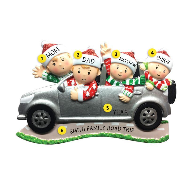 Driving a SUV Family of 4 Ornament