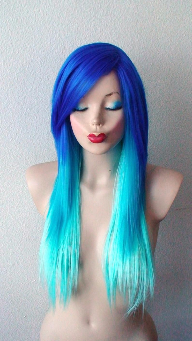 Blue Wigs Lace Frontal Wigs Cheap Human Wigs Sparks Electric Blue Overtone Extreme Blue Blue Eyes Blue Hair