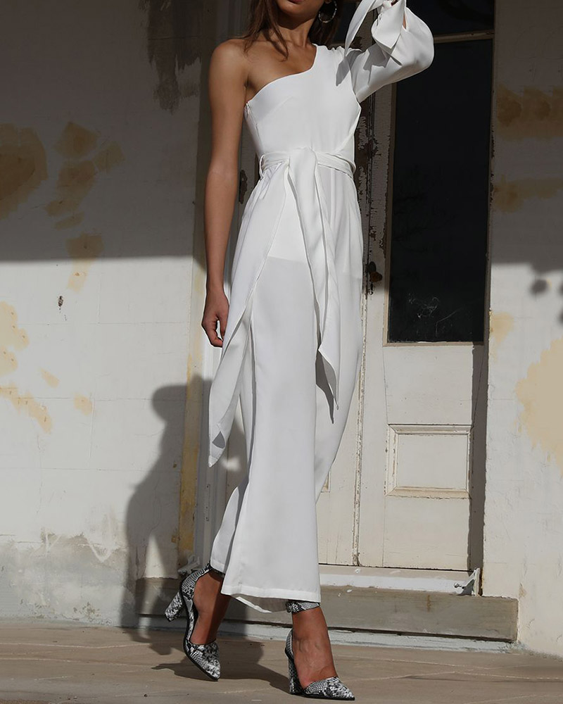 Sexy Solid Color Off-the-shoulder Lace-up Jumpsuit