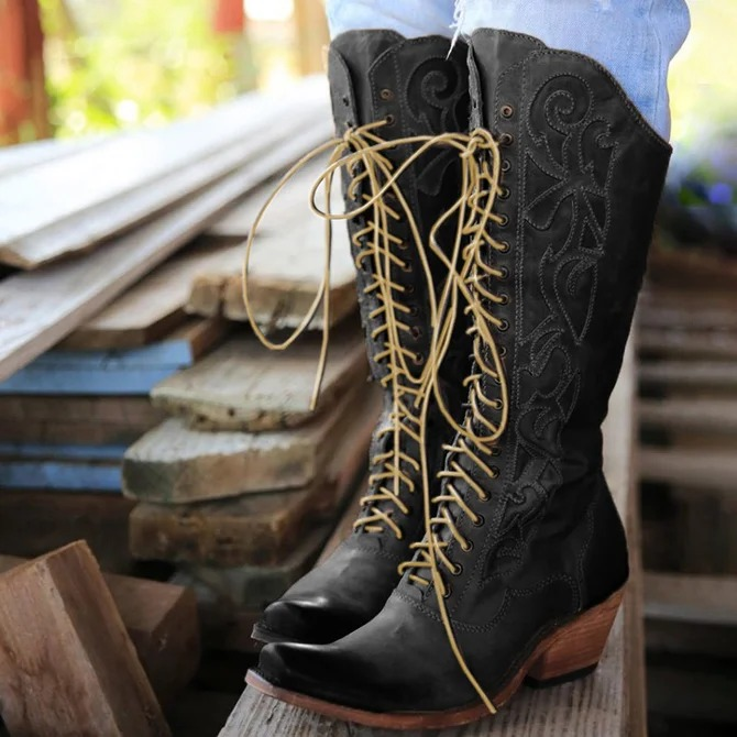 Lace-Up Winter Knee-High Boots Chunky Heel Leather Boots