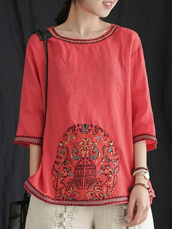 Ethnic Bloom Ramie Tunic T-Shirt Top