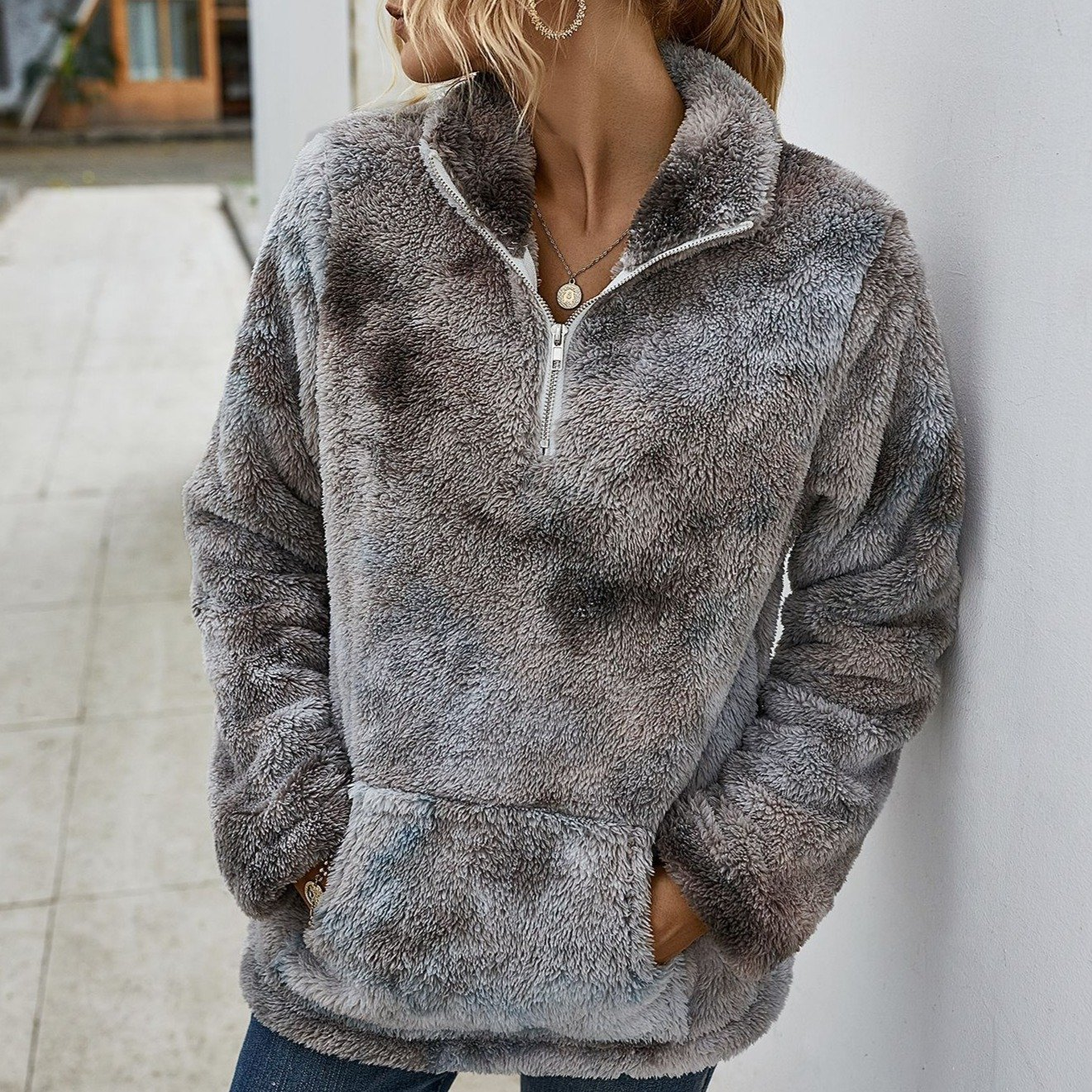 Fashion tie dye chunky sweater fuzzy polo sweater with pocket for winter