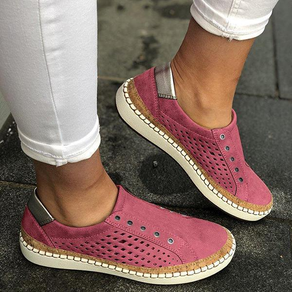 Bonnieshoes Women Casual Slip On Hollow-Out Sneakers