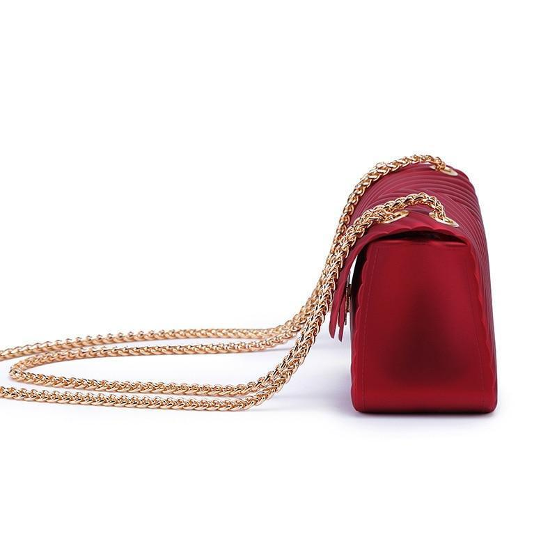 Fashion jelly purse clutch purse with chain