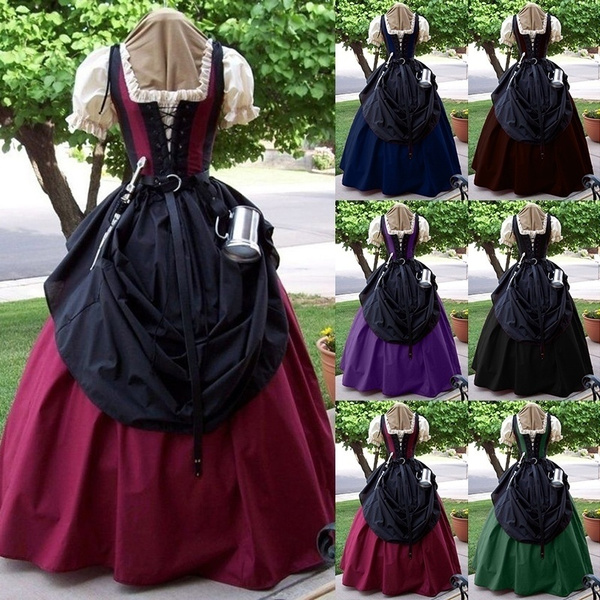 S-5XL Vogue Europe Medieval Vintage Retro Court Style Elegant Maxi Dress Ball Gown Princess Lantern Sleeve Floor Length Medieval Cosplay Dresses