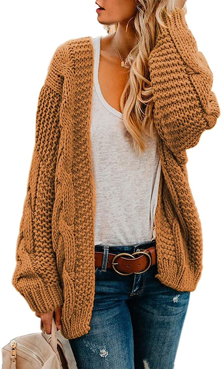 Long Sleeve Chunky Knit Cardigan Sweaters