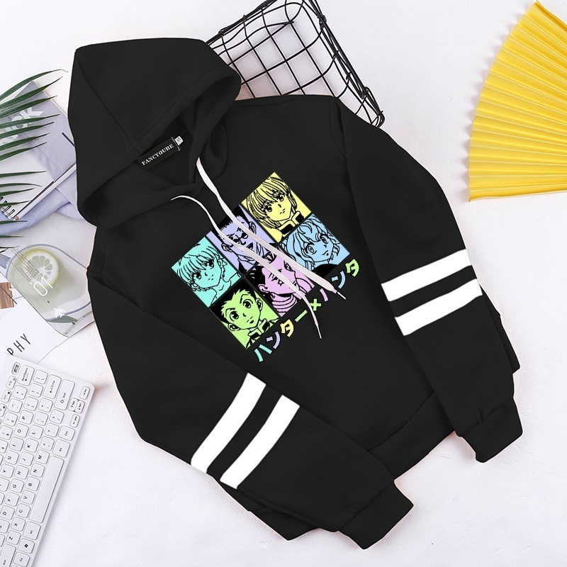 2020 New Fashion Women Teens Funny Anime Hunter X Hunter Printed Cropped Hoodies Casual Long Sleeve Cotton Hooded Sweatshirt Pullover Crop Tops Popular