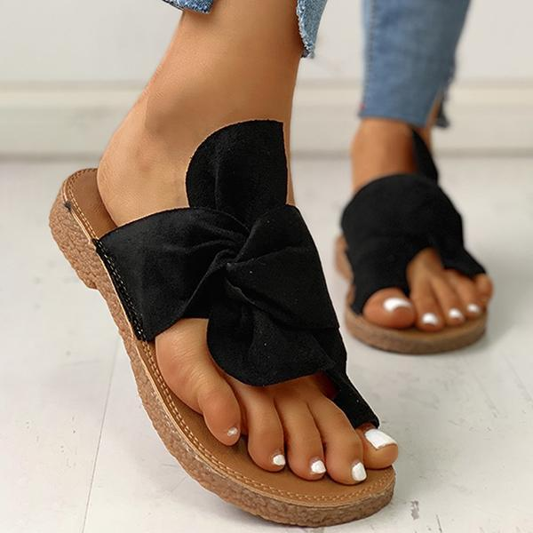 Faddishshoes Bowknot Toe Ring Non-slip Slippers