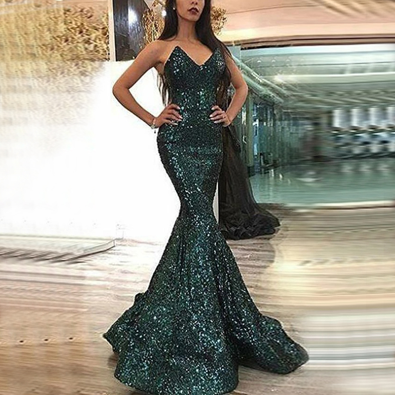 Elegant Sexy Tube Top Off-The-Shoulder Fishtail Evening Dress