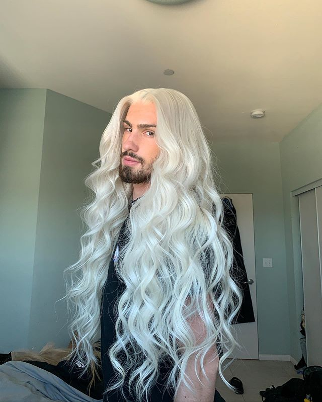 Silver White Long Curly Hair | Men's Wig