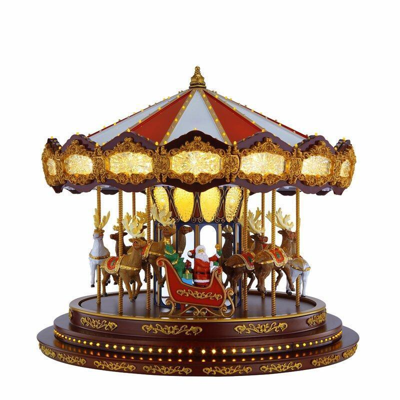 Deluxe Musical Carousel Christmas Decorations-Santa Claus