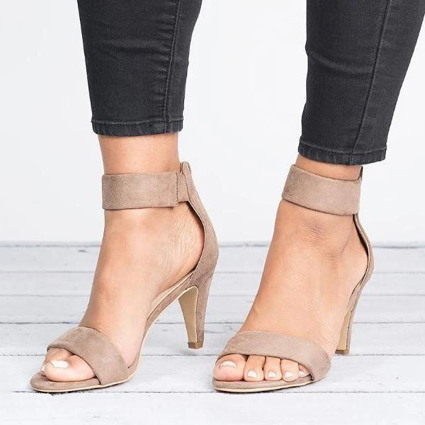 Faddishshoes Ankle Strap Mid Thin Heel Sandals