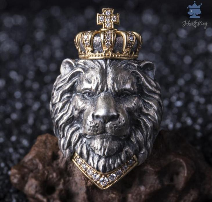 Simba Lion King 925 Silver Domed Lion Ring