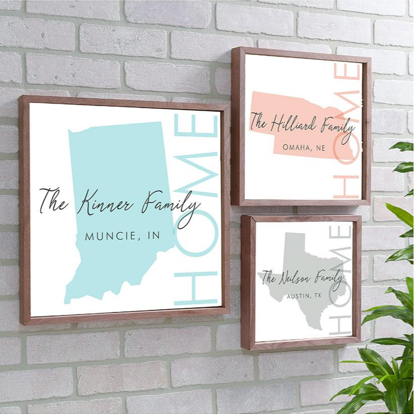 Personalized Home State Framed Wall Art