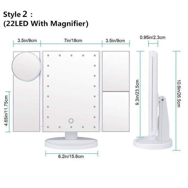 Makeup Mirror Lighted Vanity Mirror With 10X/3X/2X Magnification Magnifying 22/8 Led Makeup Mirror With 180¡ãAdjustable Stand Adjustable Touch Screen Women s Fashion Led Makeup Mirror