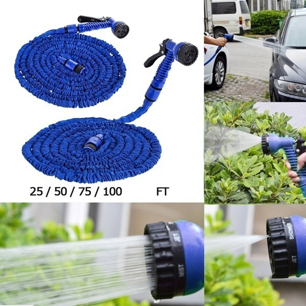 New 25/50/75/100FT Expandable Flexible Water Hoses Pipe Watering Spray Gun For Car Garden Hose