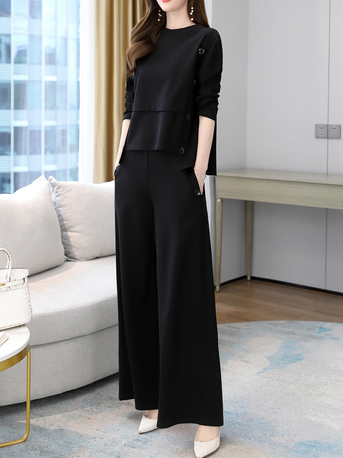 Two-piece Loose Long-sleeved Wide-leg Pants