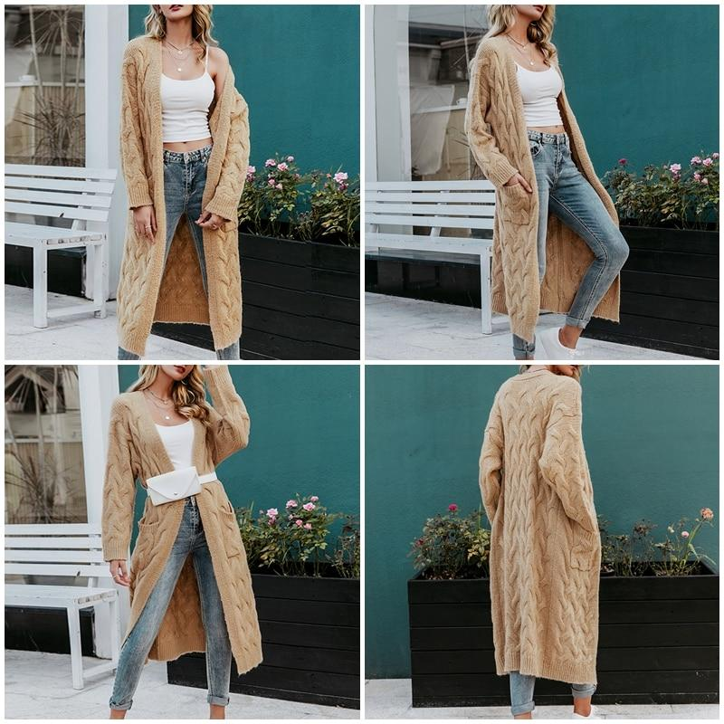 Women's cable knit long cardigan winter warm chunky cardigan sweater