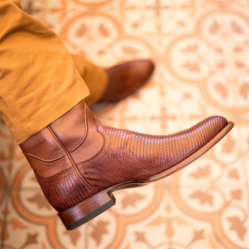 Vintage Lizard Leather Western Boots