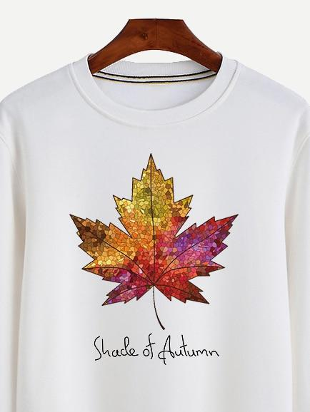 Men Crew Neck Letter And Leaf Sweatshirt