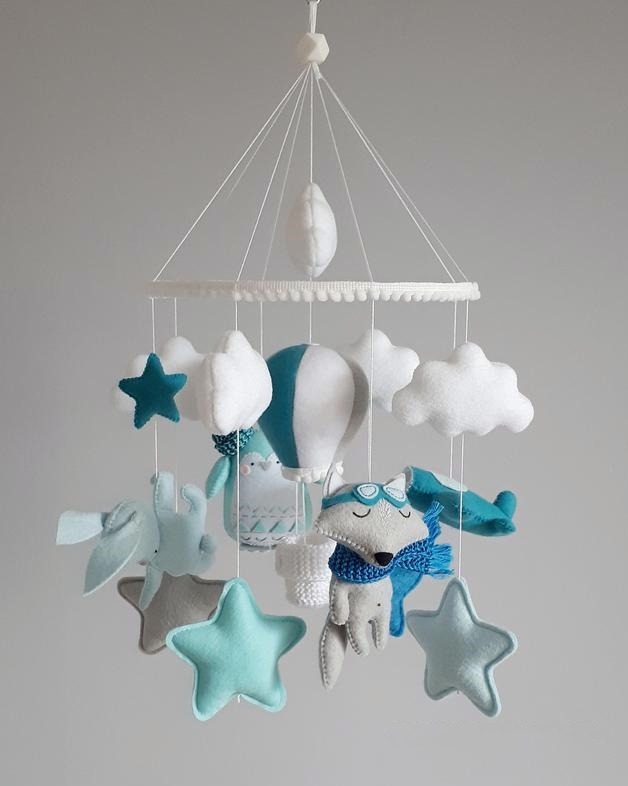 Hanging baby mobile for boy, Crib mobile with wolf-pilot, airplane, Hot air balloon decor for nursery