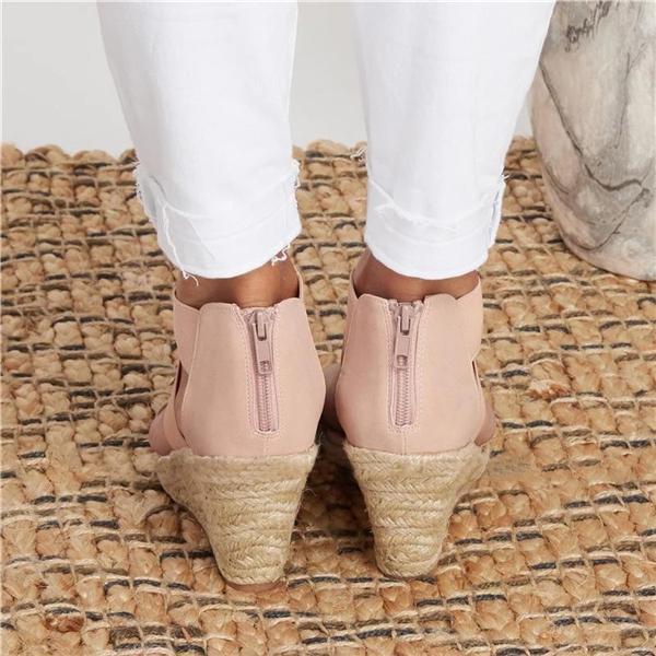 Mokoshoes Summer Round Toe High Heel Wedge Casual Ladies Sandals
