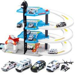 256 DIY Puzzle Toy Four-storey Police Car Parking Lot Building Block for Children -