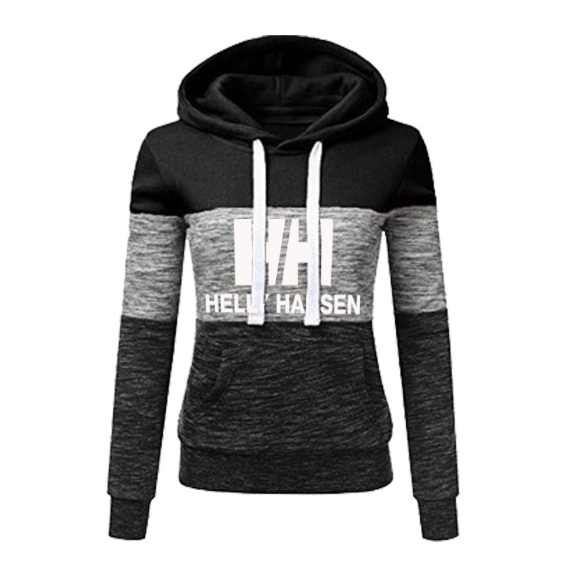 2019 Womens Long Sleeve Fleece Pullover Hoodie Sweatshirts Color Stitching Striped Printed Hooded Tops with Pocket