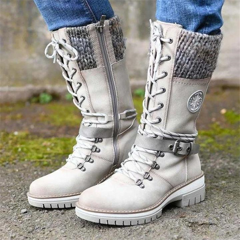 Women Buckle Lace Knitted Mid-calf Boots