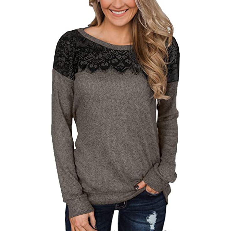 Ladies lace stitching solid color long-sleeved T-shirt