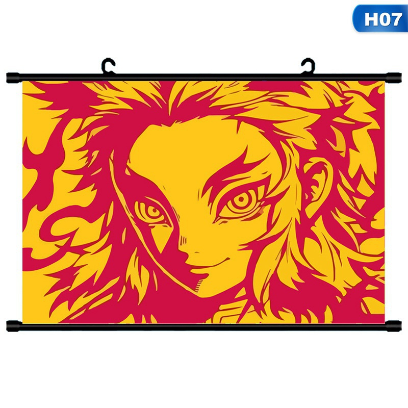 9 Styles Demon Slayer Kimetsu No Yaiba Scroll Paintings Fabric Cloth Poster Wall Hanging Scroll Wall Home Decor 20*30Cm